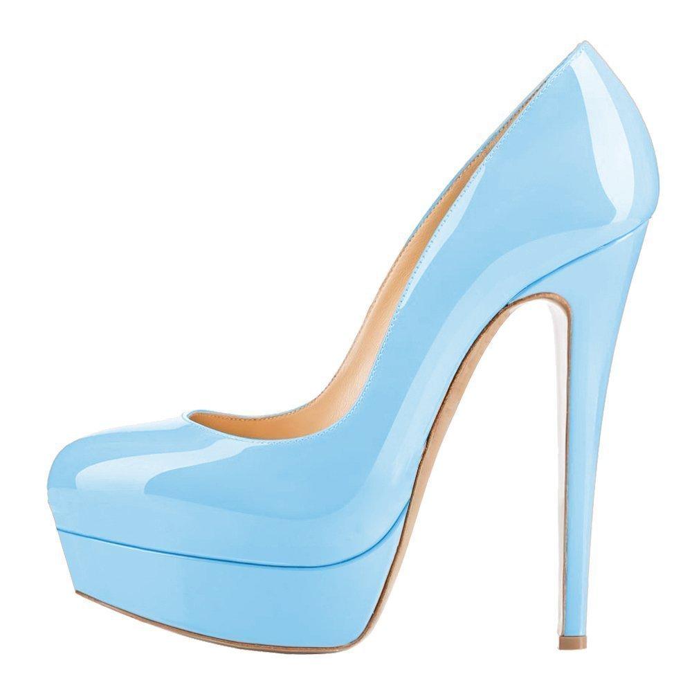 Light bluee UMEXI Round Toe Platform Pumps Stiletto High Heel Slip On Party Wedding Dress shoes for Women