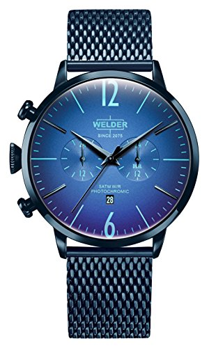 Welder Moody Stainless Steel Blue Mesh Dual Time Watch with Date 45mm