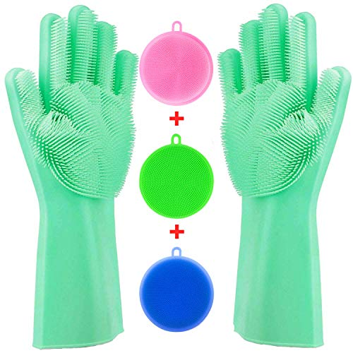 - Tebba Magic Dishwashing Gloves Silicone Scrubber Sponges - Reusable Rubber Great Washing Dish Kitchen Car Bathroom Pet Care