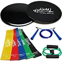 """Workout Equipment For Women Men: 2x Dual Sided Gliding Discs & 5x Loop Resistance Bands & Jump Rope & """"8shape"""" Band 
