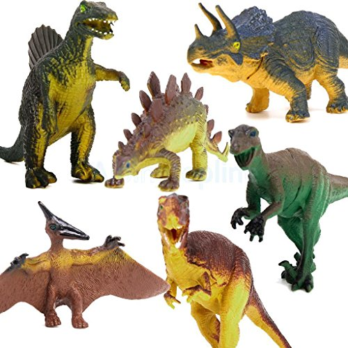 Batman Replica Costume Uk (Shalleen DINOSAUR AGES SET 6x Tyrannosaurus Stegosaurus Triceratops Model Figures Toy)