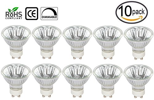 Base Flood Gu10 Mr16 ([10 Pack] Simba Lighting 35 Watt GU10 JDRC MR16 120V 35W Halogen Spotlight Flood Light Bulbs Dimmable with Cover Glass Twist and Lock Twistline Base)