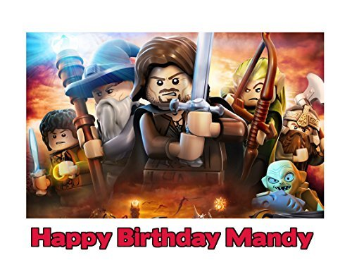 Lego Lord of the Rings Image Photo Cake Topper Sheet Personalized Custom Customized Birthday Party - 1/4 Sheet - 77670