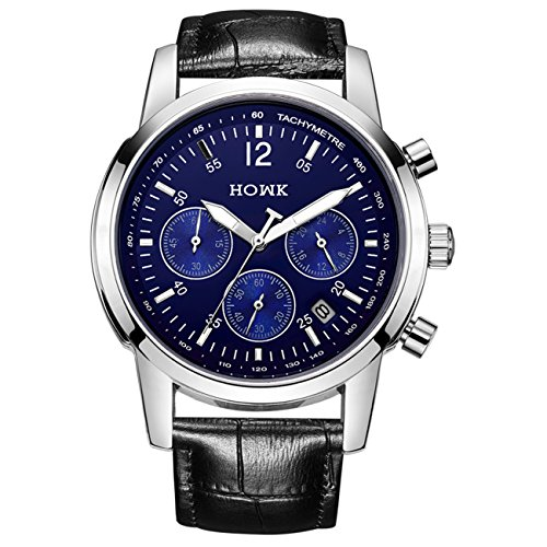 Watch Blue Face Leather Band - 8