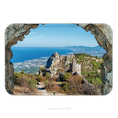 Cyprus Costumes (Flannel Microfiber Non-slip Rubber Backing Soft Absorbent Doormat Mat Rug Carpet Castle Ruins Saint Hilarion Castle Cyprus 370114163 for Indoor/Outdoor/Bathroom/Kitchen/Workstations)