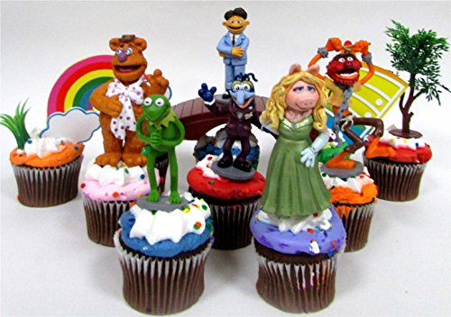 sesame-street-muppets-10-piece-birthday-cupcake-topper-set-featuring-muppets-figures-and-decorative-
