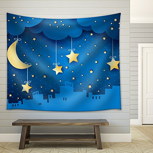 Surreal Background with Moon and Skyline Fabric Wall Tapestry