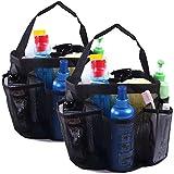 HDE Shower Caddy Mesh Bag College Dorm Bathroom Carry Tote Hanging Organizer 2 Pack (Black)