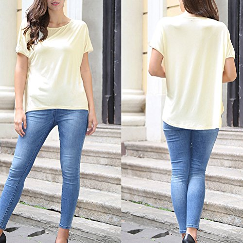 Zhhlinyuan Casual Women's Tops Simple Style Cozy T shirts for Fashion Señoras Beige