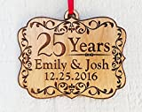 Personalized Anniversary Wood Ornament 25, 50, 60, 70 Years Togetherness of Marriage, Engagement 1 Year Married, Husband Wife, Couples Christmas Gift