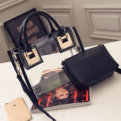 Maniglia Pvc Borse Cosmetici Ourbag Tracolla In Superiore Impermeabile Borsa Con Donna A Nero Bianco Sacchetto wq4Bf8X