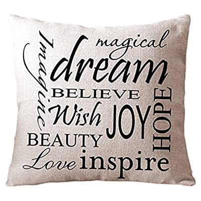 "Onker Cotton Linen Square Decorative Throw Pillow Case Cushion Cover 18"" x 18"" Inspirational Quotes"