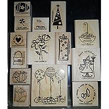 Stampin' Up! Wood Mounted Stamp - Tag Time - Set of 14