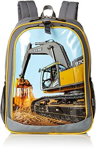 School Construction Backpack - John Deere Kids Boys Girls Child School Backpacks, GREY