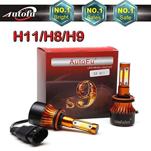 Autofu H11 H8 H9 LED Headlight Bulb High Beam or Low Beam LED Fog Light Bulbs - 7200LM 4-Side Super Bright 6000K Pure Cool White Plug n Play Head Light Conversion Replacement Kit