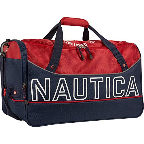 Price comparison product image Nautica Travel Carry Duffle Bag Duffel,  Red / Classic Navy,  One Size