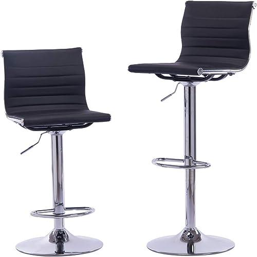 Sidanli Black Adjustable Swivel Counter Bar Stool Chair