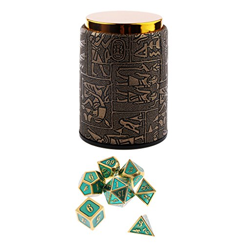 Homyl 7PCS Metal Polyhedral Dice D4-D20 for Dungeons and Dragons Board Game Accessories &Dice Cup #A by Homyl