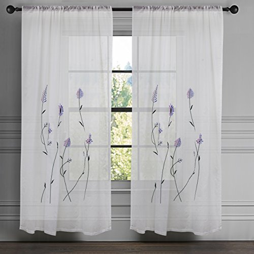 Milano Home White Spring/Summer Sheer Curtains for Living/Bed Room Embroidery Rod Pocket Window Voile Panel 100% Cotton Excellent Quality, 52