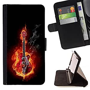 For Apple Iphone 5 / 5S Guitar Rock Heavy Metal Flames Fire Music Beautiful Print Wallet Leather Case Cover With Credit Card Slots And Stand Function