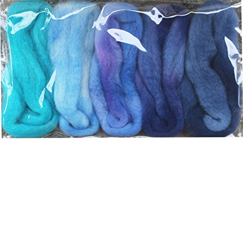 Needle Felting Roving Fiber for Felting Spinning Weaving Dryer Balls Soap Making and Embellishments. Color Sampler Pack of BFL Wool Hand Dyed in USA by Living Dreams. Blues