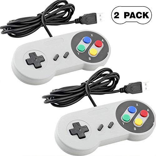 SNES USB Controller, 2 Pack Retro USB Wire Super Classic Controller Gamepad Joypad Gamestick for Windows PC Mac Laptop Linux Android Raspberry Pi