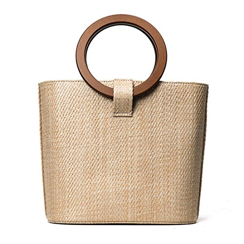 Luckywe Bolsa de mujeres carteras bolsos Madera redonda damas rota naturaleza playa A14 Marfil