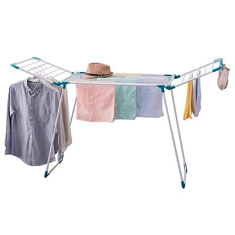 JHome-Tendederos Servicio de lavandería Permanente Rack de Secado Ropa Airer con alas Espacio de
