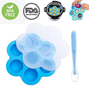 Silicone Egg Bites Molds for Instant Pot Accessories, Fits 5,6,8 qt Pressure Cooker, Microwave Oven, Refrigerator, for Baby Food Freezer, Egg Cooker, Fruit Ice, Egg Bite, with Silicone Spoon