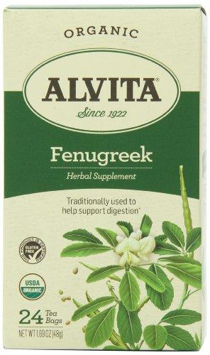 Alvita Organic Herbal Supplement, Fenugreek, 24 Tea Bags
