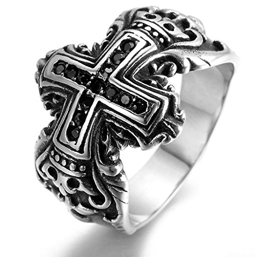 Stainless Steel Ring for Men, Cross Ring Gothic Black Band 1520MM Size 11 Epinki