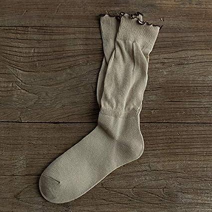 KWXHG Calcetines de Encaje Sen Sencillos Calcetines de algodón otoño Femeninos Coreanos Calcetines de Tubo japoneses