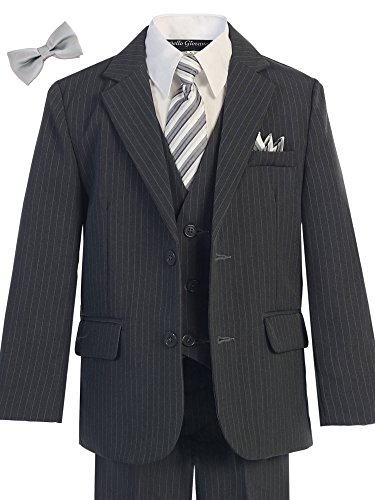 Bello Giovane Boys Charcoal Pinstripe 5-piece Suit (Free Bow Tie) (4)
