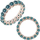 3 Carat Blue Diamond Promise Engagement Wedding U Shape Full Eternity Band Ring 14K Rose Gold