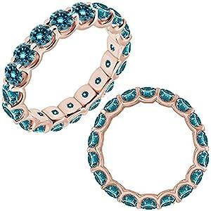 2.25 Carat Blue Diamond Promise Engagement Bridal U Shape Full Eternity Band Ring 14K Rose Gold