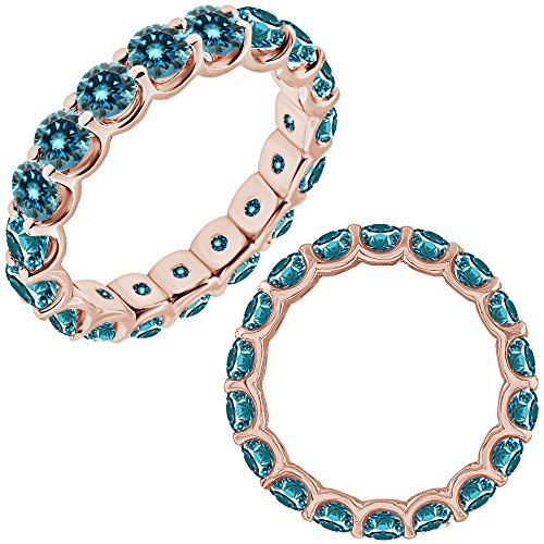 Diamond Full Eternity Ring (3 Carat Blue Diamond Promise Engagement Wedding U Shape Full Eternity Band Ring 14K Rose Gold)
