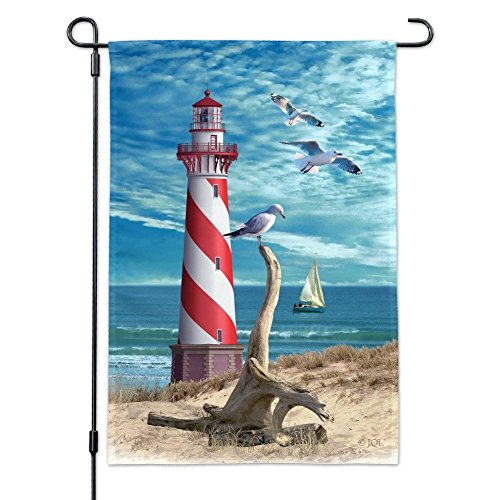Graphics and More Lighthouse Seashore Ocean Beach Seagulls Sailboat Garden Yard Flag with Pole Stand Holder