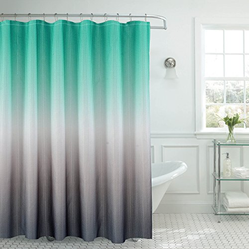 Ombre Waffle Weave Shower Curtain Set, Turquoise/Grey