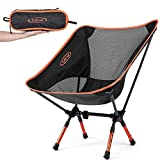 G4Free Portable Camping Chairs Adjustable Height Folding Lightweight Outdoor Backpacking Chair for Sports Picnic Beach Hiking Fishing, Low Back Camp Chair (Adjustable Orange)