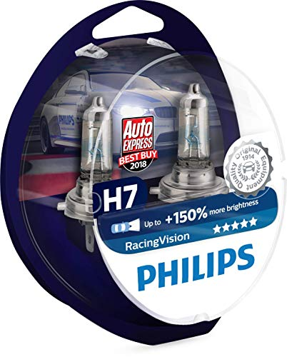 Philips RacingVision H7 Headlight Bulbs (Twin) 12972RVS2 Xtreme Vision Upgrade (Plus Headlight Bulbs White)
