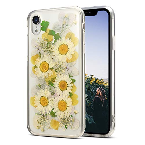iPhone XR Clear Case Floral Design for Cute Women Girls [Preserved Flowers Pressed] [Slim Fit] [Shockproof] Soft Silicone Phone Cover for iPhone XR 6.1',Sunflower Yellow
