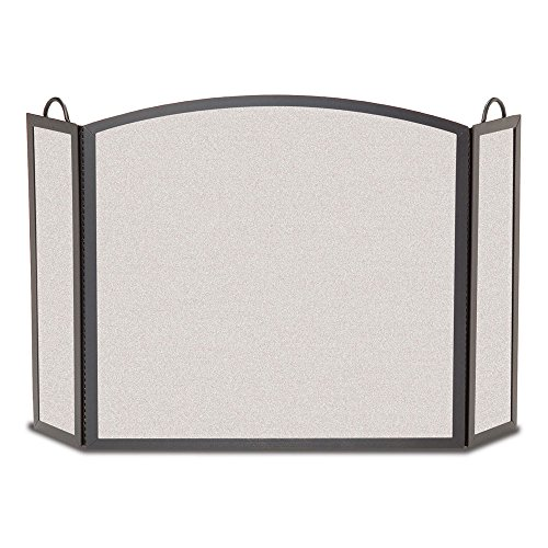 (Pilgrim Home and Hearth 18208 Full Arch Tri Panel Fireplace Screen, 52″W x32.5″H 29 lbs, Vintage Iron)