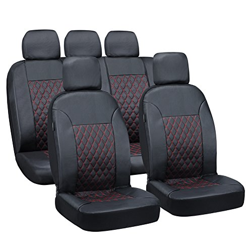 Big Ant Car Seat Covers Full Set Front + Rear Seat Covers with 5 Detachable Headrests - Airbag compatible and Split Bench, Universal Fit Most Car, Truck, Suv, or (Rear Skirt Set)