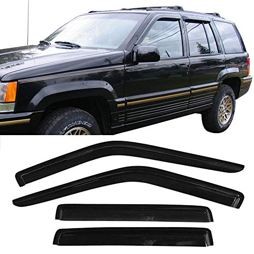 Window Visor fits 1993-1998 Jeep Grand Cherokee | Slim Style Acrylic Smoke Tinted & Semi-transparent Sun Rain Shade Guard Wind Vent Air Deflector by IKON MOTORSPORTS | 1994 1995 1996 1997