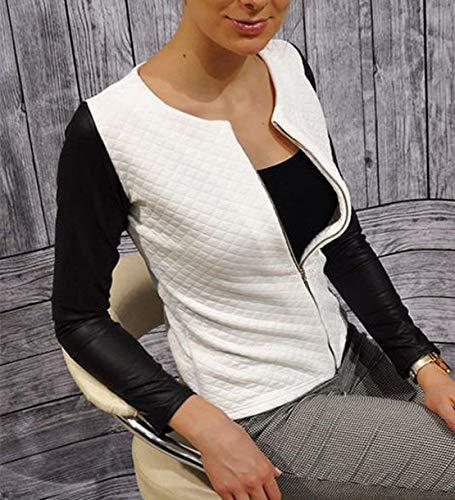 Similpelle Donna Glamorous Fit Cerniera Giubbino Autunno Giacca Bianca Semplice Libero Eleganti Con Bianco In Cappotto Lunghe Pelle Outerwear Tempo Fashion Maniche Slim 6wq8S