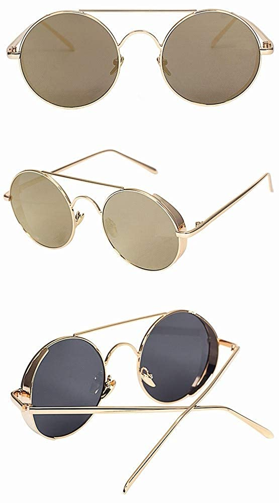 fhccy New Sunglasses Round Frame Color Film Sunglasses New Trend Sunglasses Thick-Edged Sunglasses