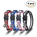 Breakaway Cat Collar- Petbemo Reflective Cat Collars With Bell 4 Pack Adjustable Strap With Safety Buckle and Heavy-Duty Nylon Collar for Small Dog Or Cat - Neck 7-11 inch