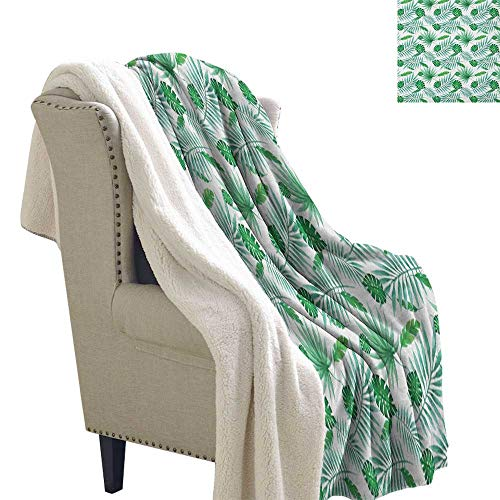 Suchashome Green and White Blankets Polynesian Aloha Watercolor Style Monstera Palm Leaves Luau Blanket Small Quilt 60x78 Inch Green and Almond ()
