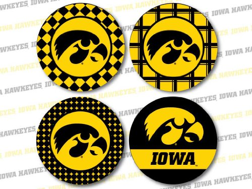 VictoryStore Coasters - University of Iowa Neoprene Hawkeye Fan Coaster Set#3, Set of 4