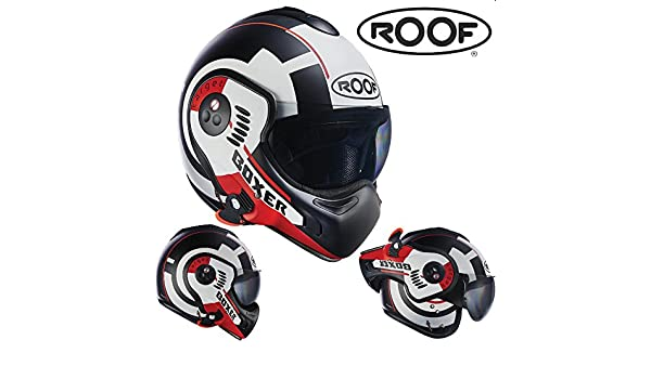 Amazon.es: Casco para moto completo y convertible Roof Boxer V8 Target color mate mate rojo y blanco.